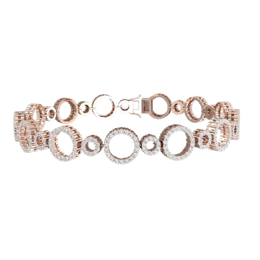 4 CTW Certified SI/I Diamond Halo Bracelet 18K Rose - 3