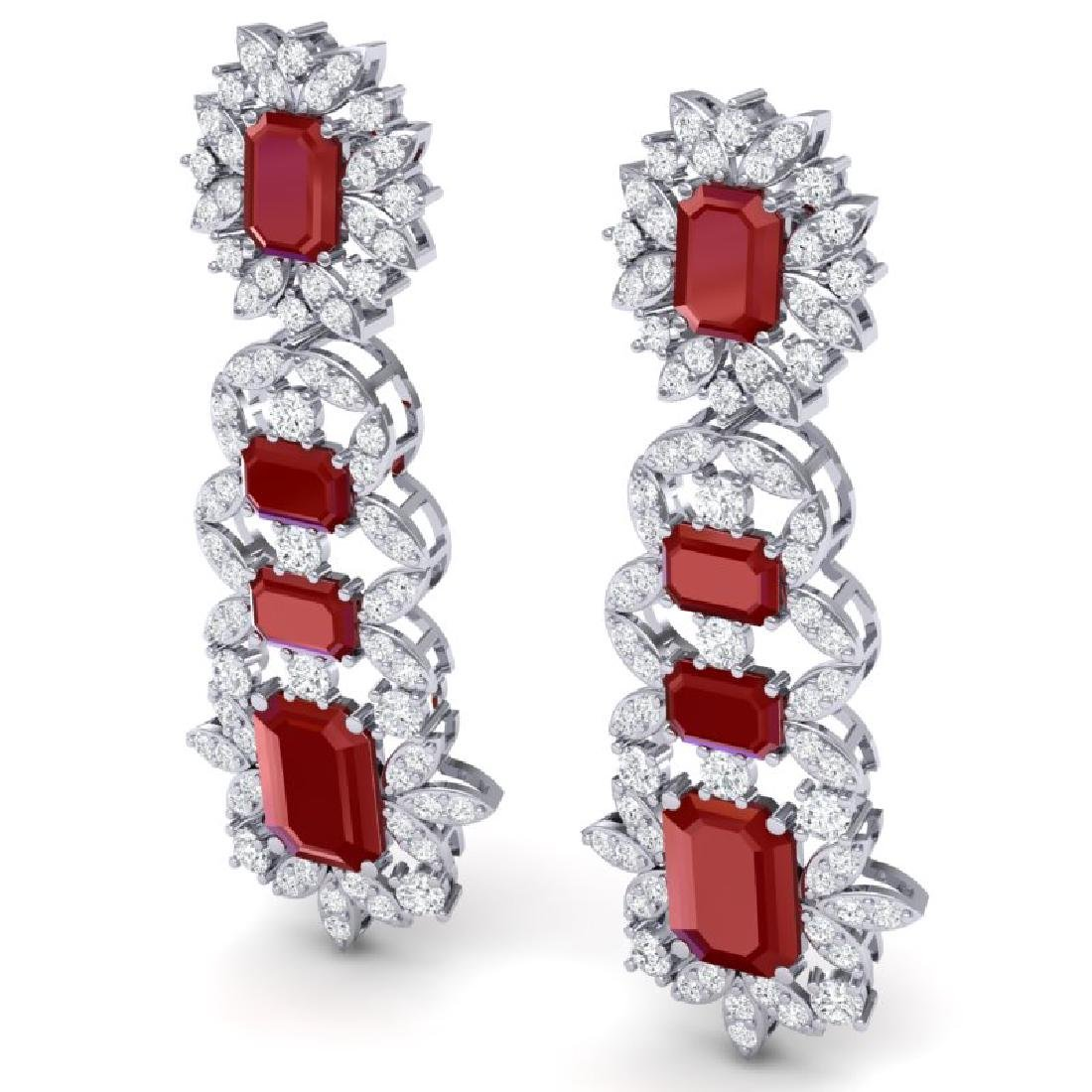 30.25 CTW Royalty Designer Ruby & VS Diamond Earrings - 2