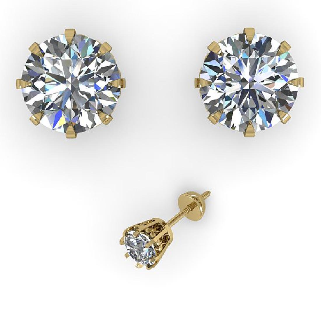 3.09 CTW VS/SI Diamond Stud Solitaire Earrings 14K - 2