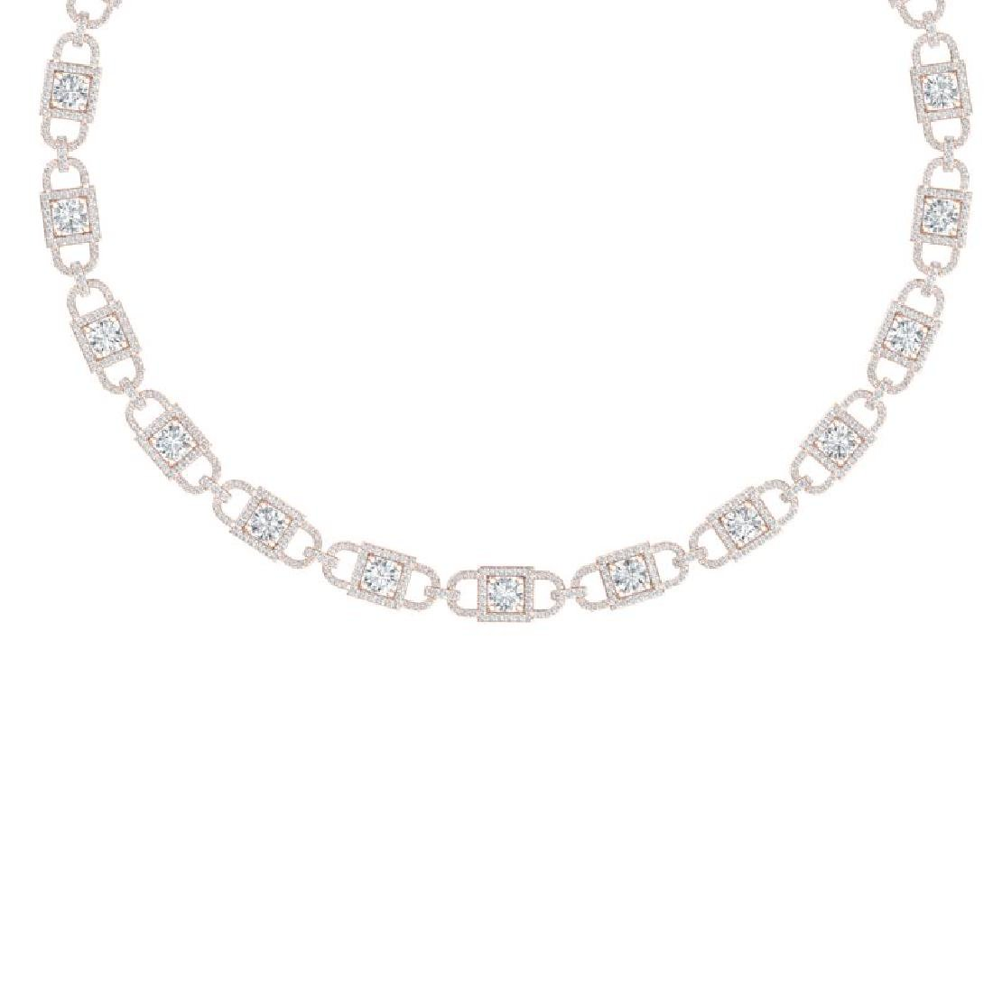 20 CTW Certified SI/I Diamond Halo Necklace 18K Rose