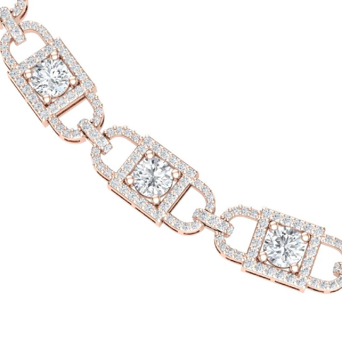 20 CTW Certified SI/I Diamond Halo Necklace 18K Rose - 2