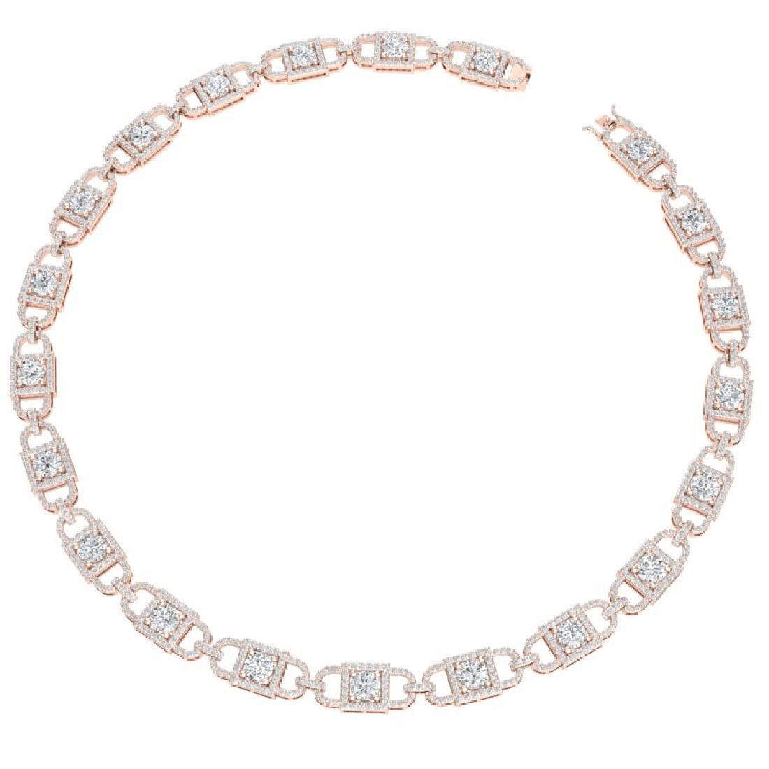20 CTW Certified SI/I Diamond Halo Necklace 18K Rose - 3
