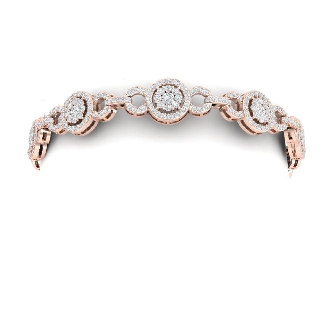 5 CTW Certified SI/I Diamond Halo Bracelet 18K Rose - 2