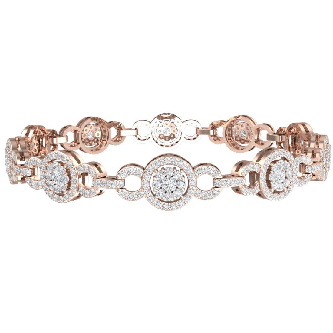 5 CTW Certified SI/I Diamond Halo Bracelet 18K Rose - 3