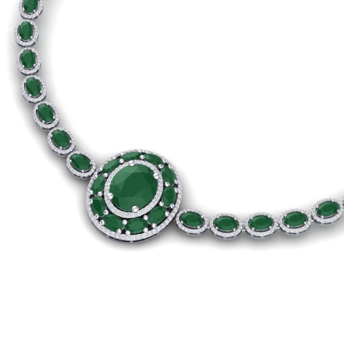 43.54 CTW Royalty Emerald & VS Diamond Necklace 18K