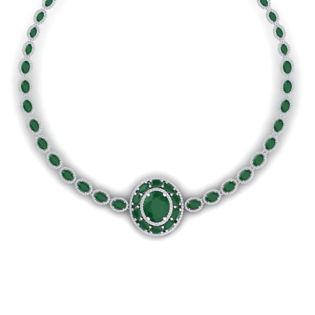 43.54 CTW Royalty Emerald & VS Diamond Necklace 18K - 2