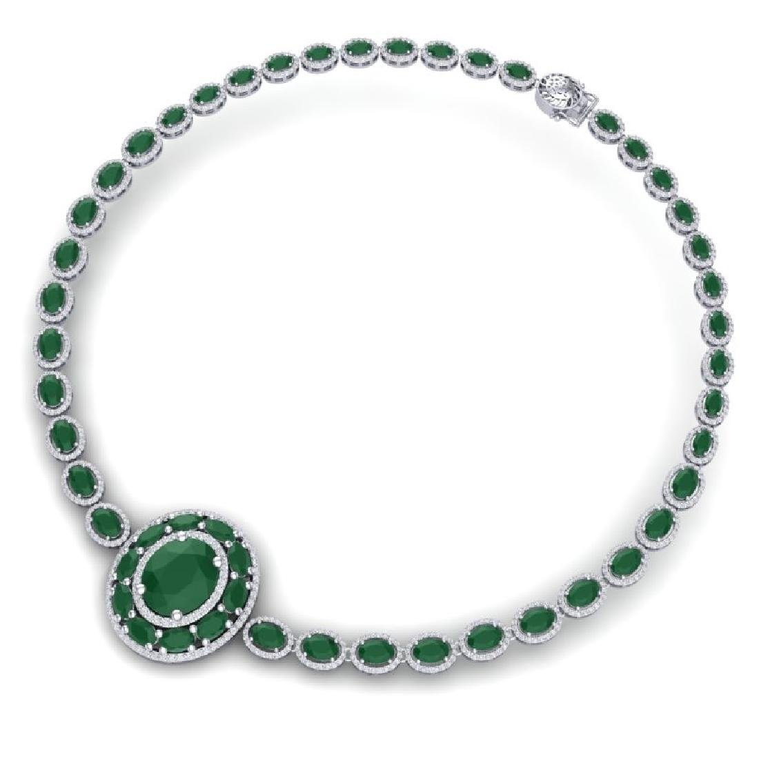 43.54 CTW Royalty Emerald & VS Diamond Necklace 18K - 3