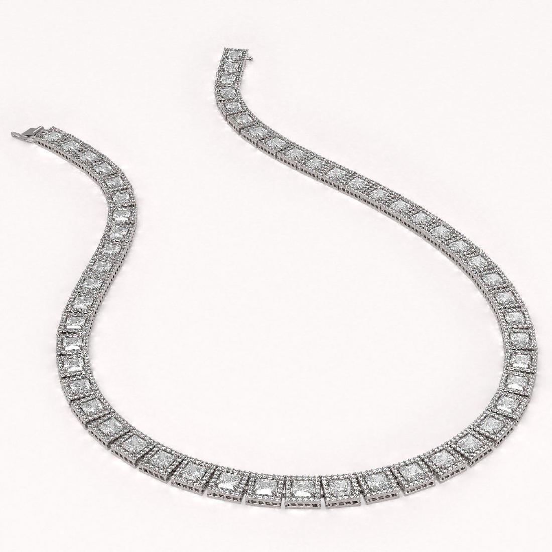 41.80 CTW Princess Diamond Designer Necklace 18K White - 2