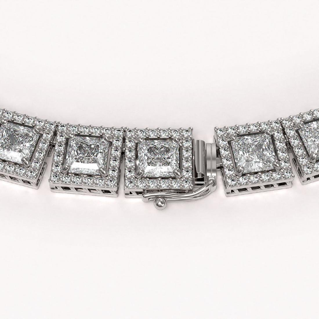 41.80 CTW Princess Diamond Designer Necklace 18K White - 3