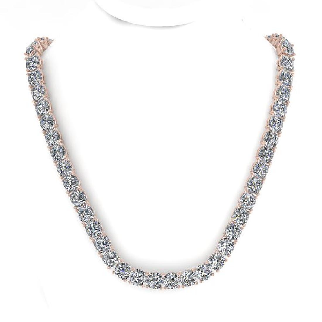 35 CTW Cushion Cut Certified SI Diamond Necklace 14K - 3