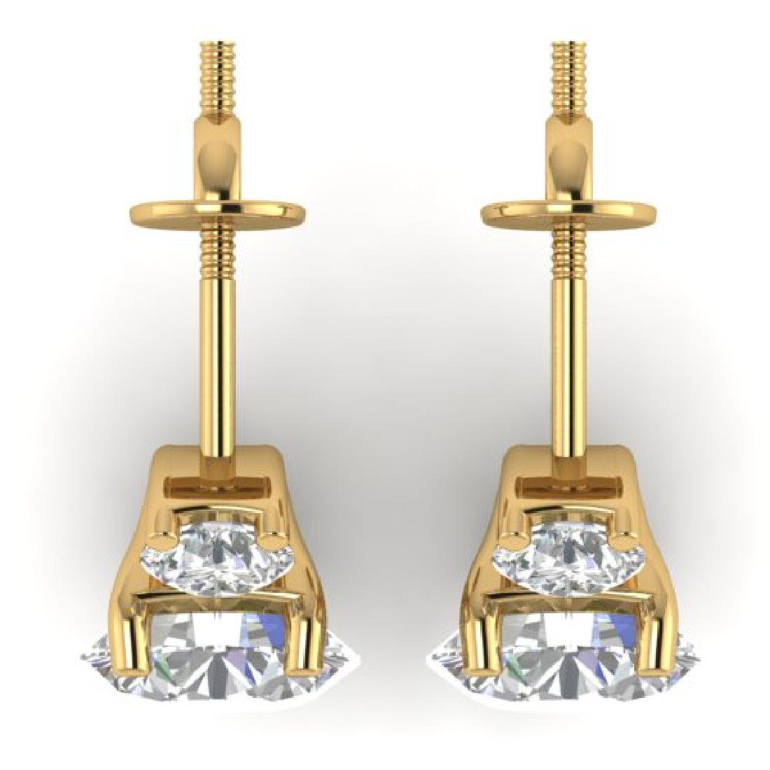2.9 CTW Certified VS/SI Diamond 3 Stone Stud Earrings - 3