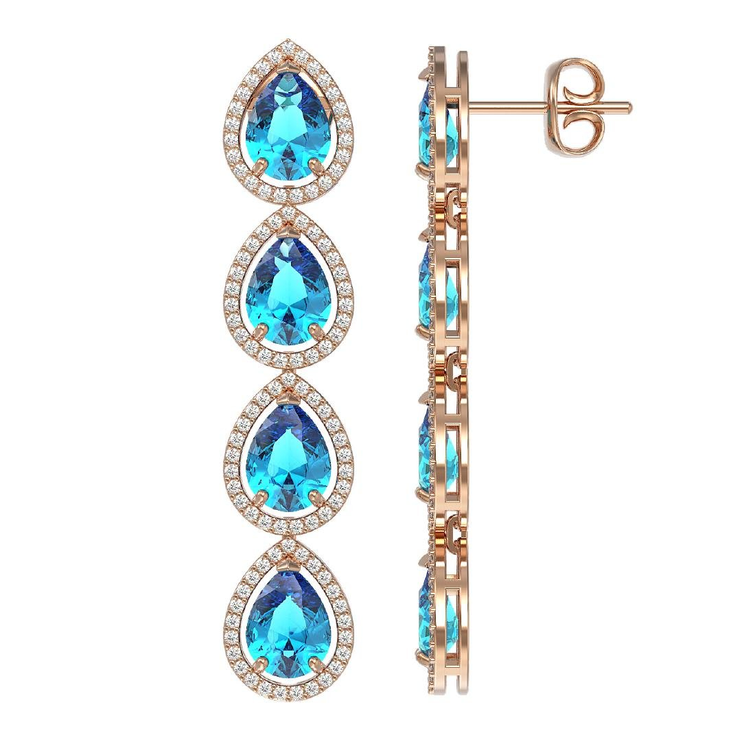 10.8 CTW Swiss Topaz & Diamond Halo Earrings 10K Rose - 2