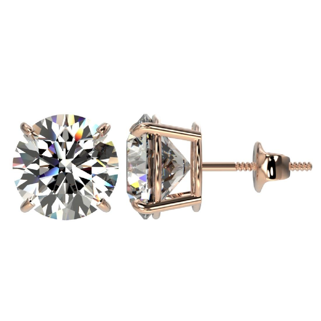 4.04 CTW Certified H-I Quality Diamond Stud Earrings - 2