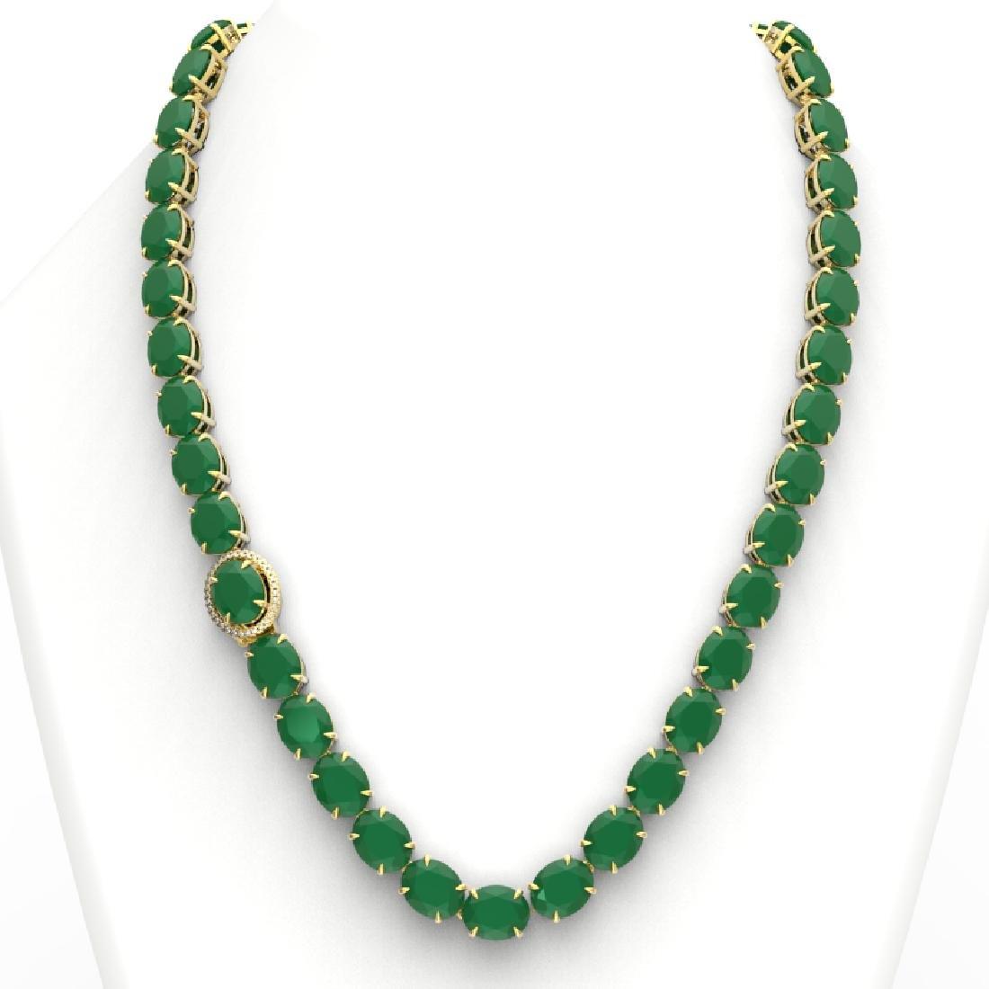 170 CTW Emerald & VS/SI Diamond Solitaire Necklace 14K - 3