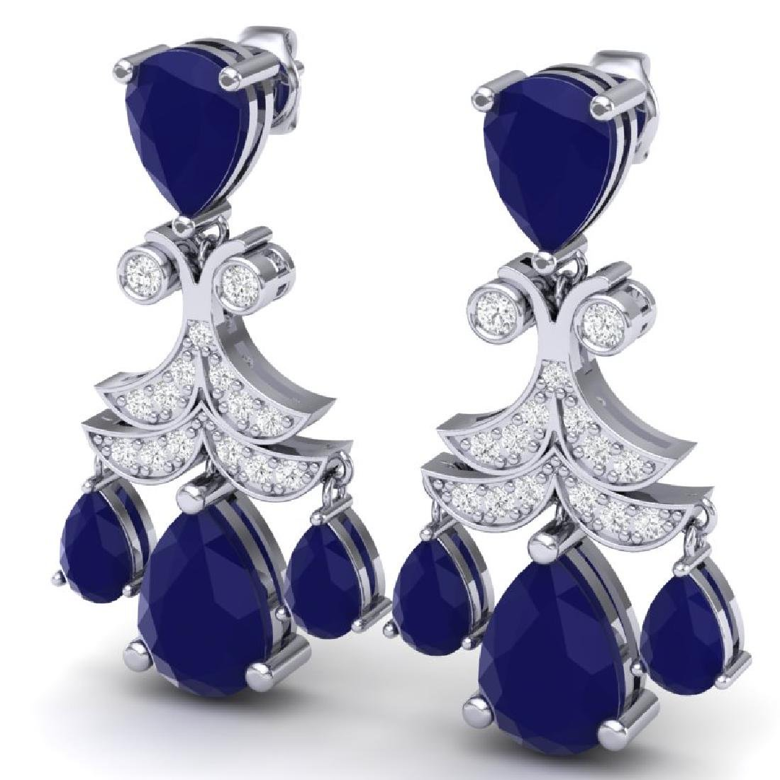 11.97 CTW Royalty Sapphire & VS Diamond Earrings 18K - 2