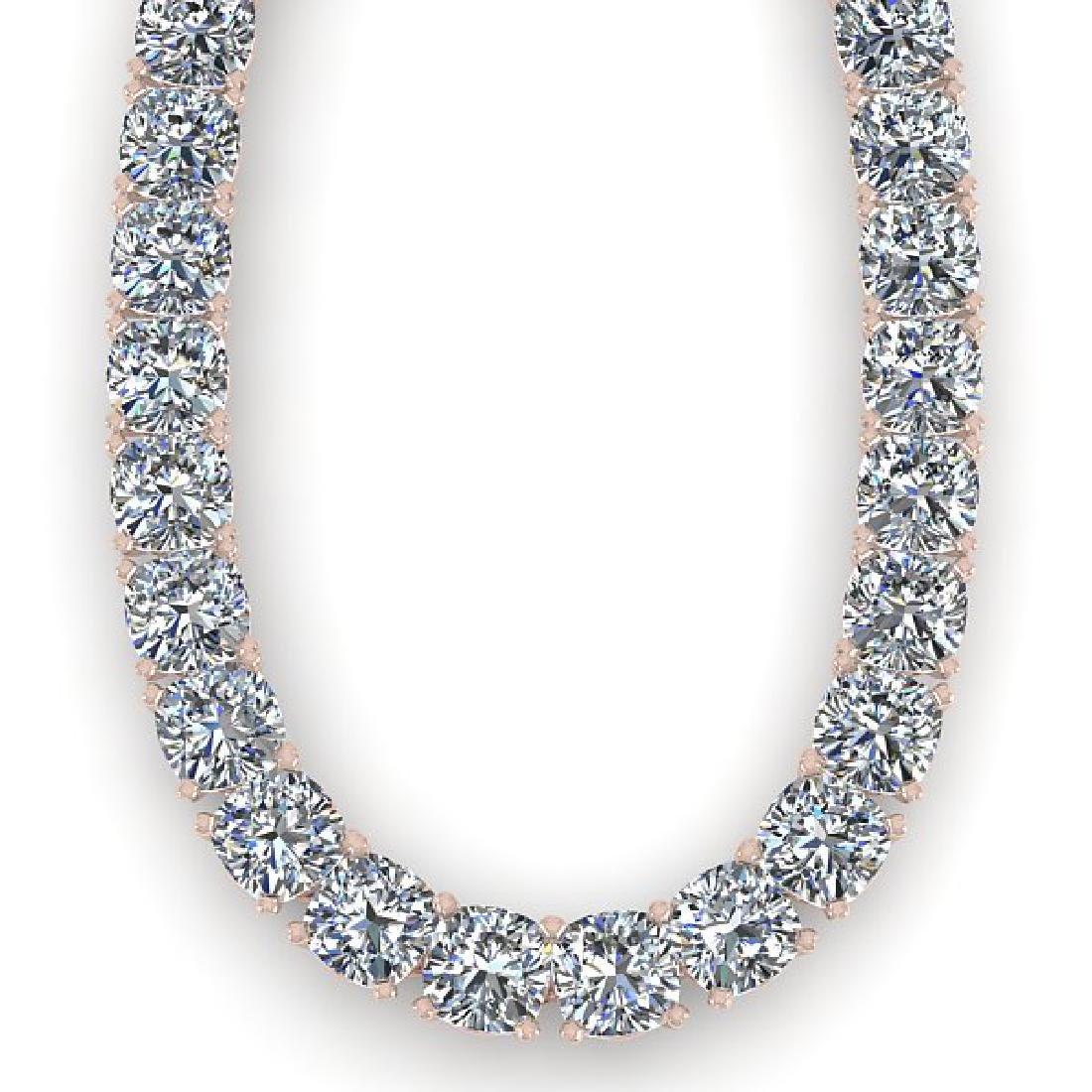 30 CTW Cushion Cut Certified SI Diamond Necklace 18K - 2