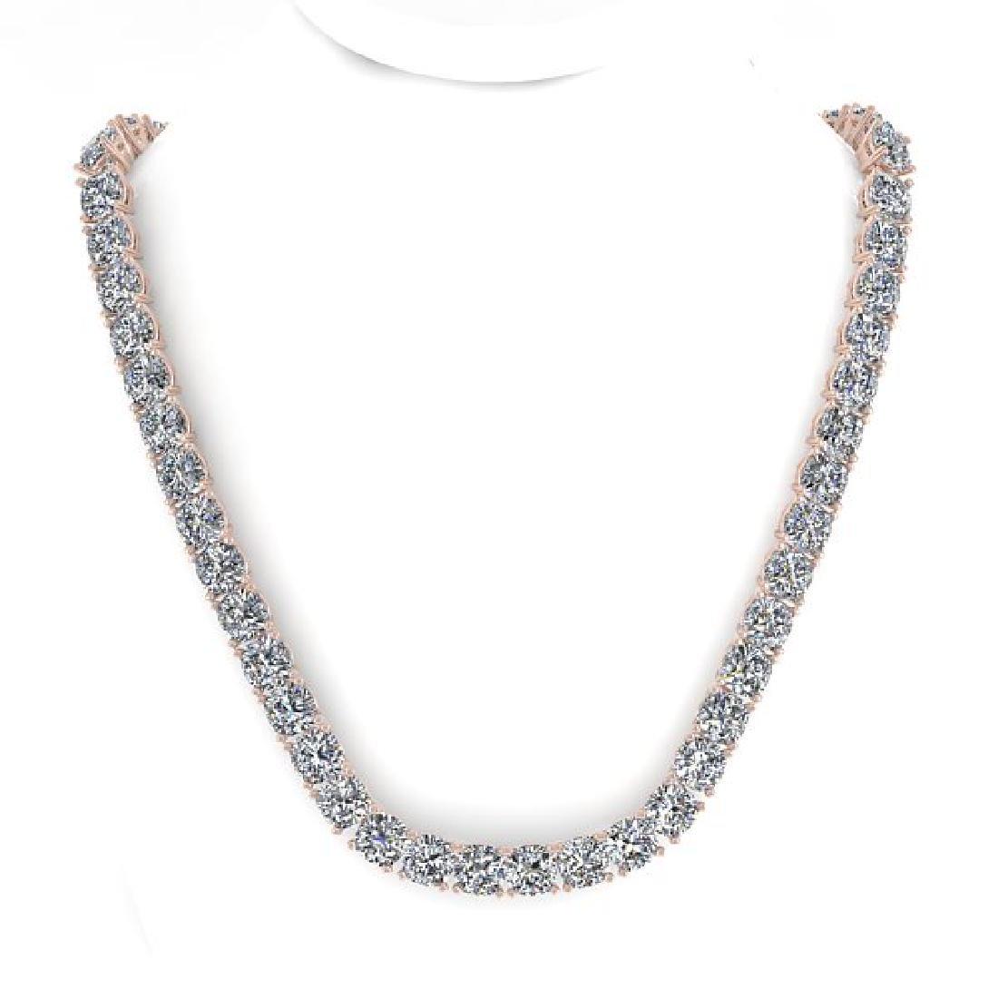 30 CTW Cushion Cut Certified SI Diamond Necklace 18K - 3