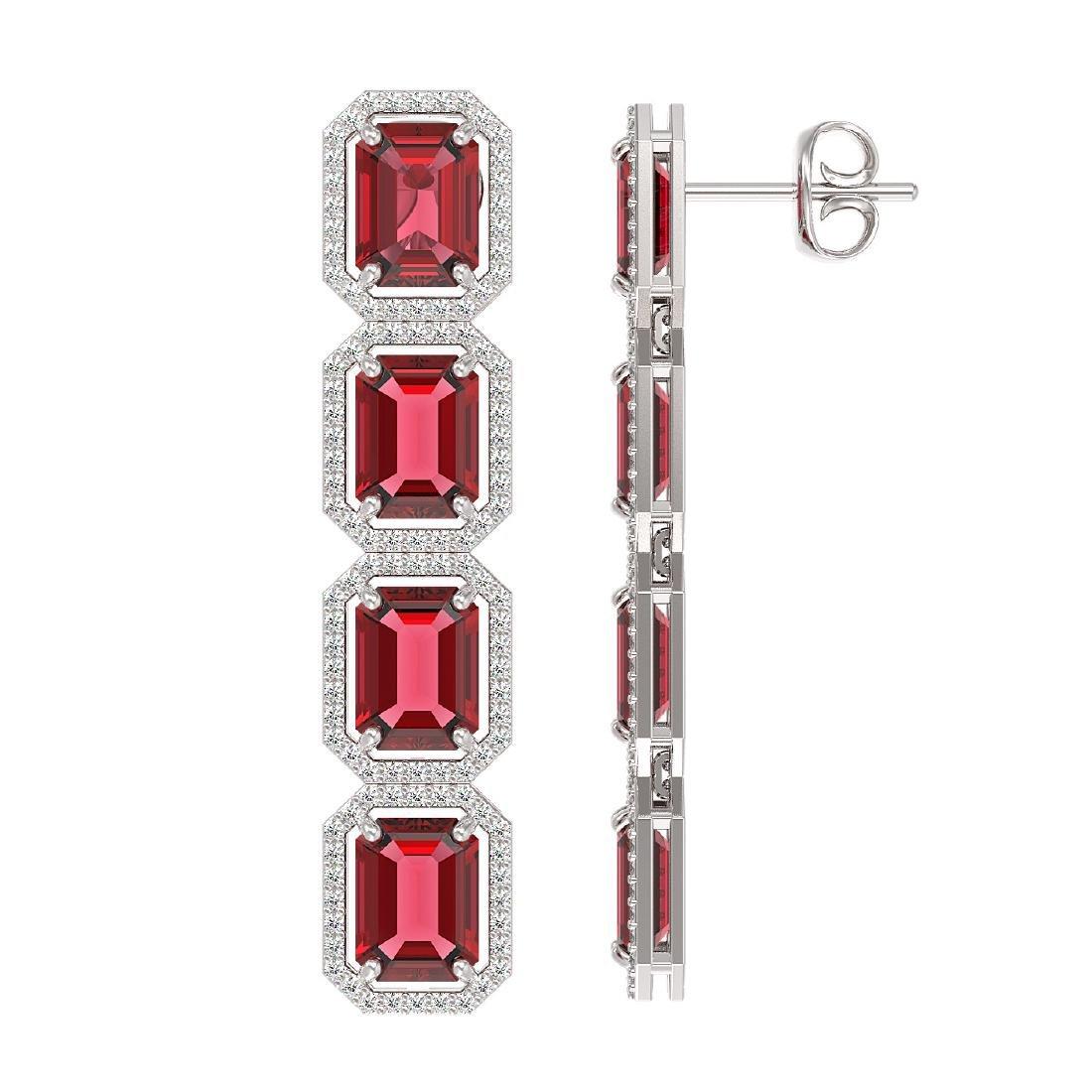 19.44 CTW Tourmaline & Diamond Halo Earrings 10K White - 2