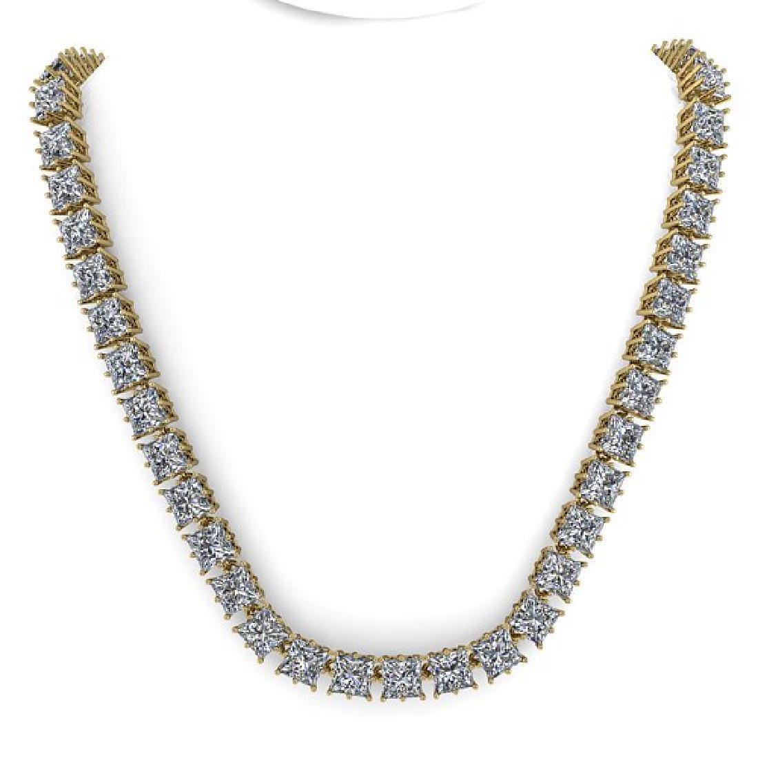 40 CTW Princess SI Certified Diamond Necklace 14K - 3