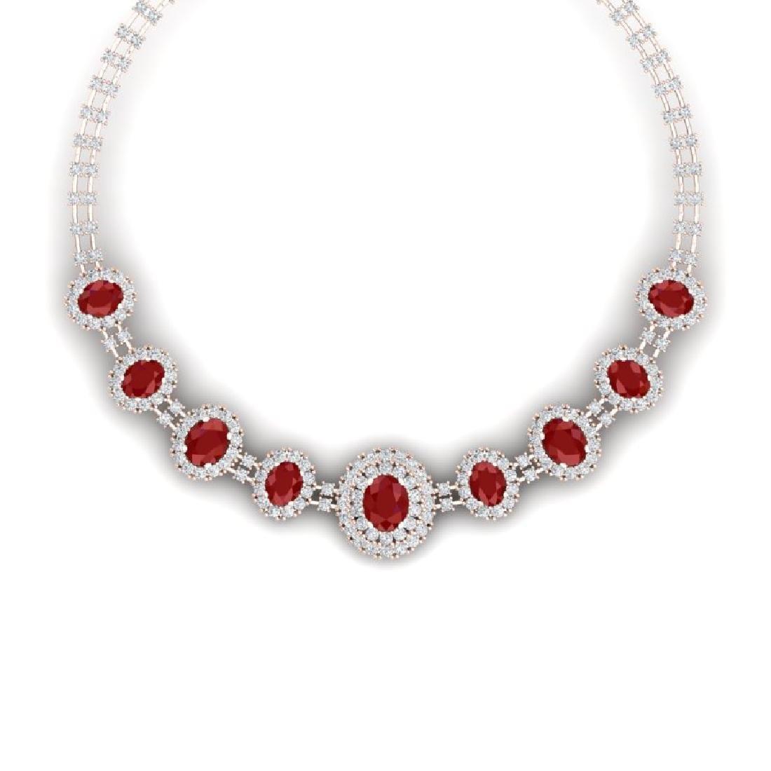 45.69 CTW Royalty Ruby & VS Diamond Necklace 18K Rose