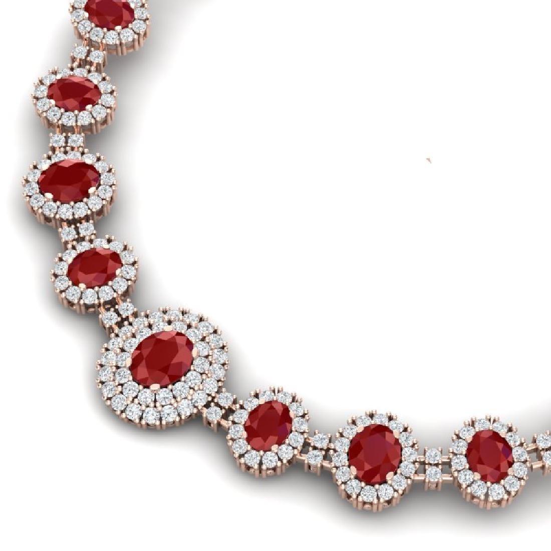 45.69 CTW Royalty Ruby & VS Diamond Necklace 18K Rose - 2
