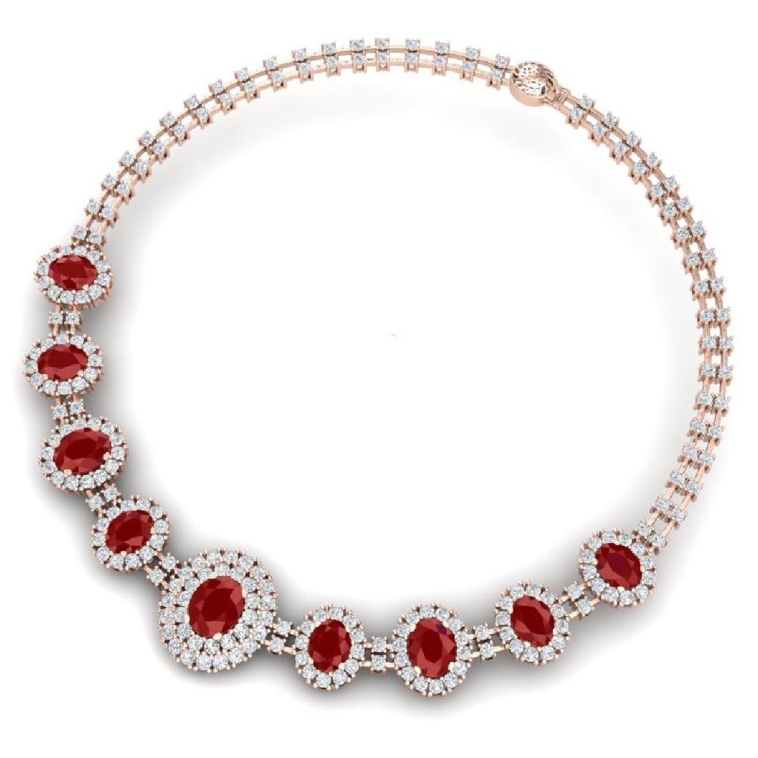 45.69 CTW Royalty Ruby & VS Diamond Necklace 18K Rose - 3