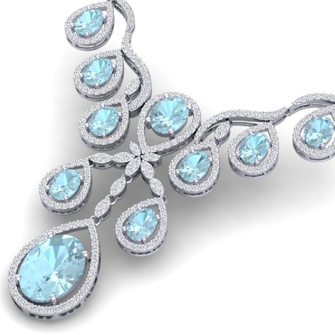 37.91 CTW Royalty Sky Topaz & VS Diamond Necklace 18K - 2