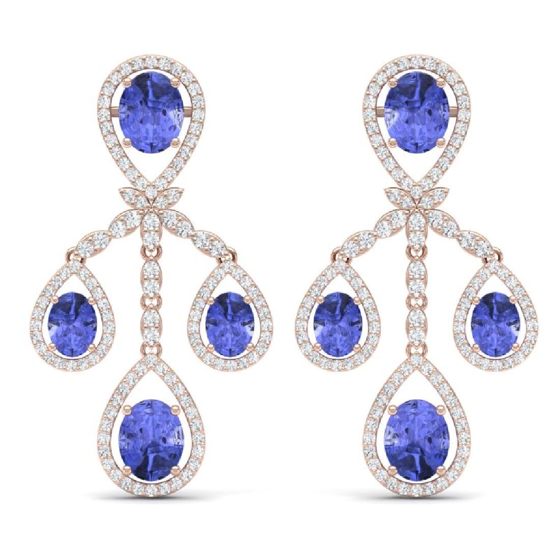 24.89 CTW Royalty Tanzanite & VS Diamond Earrings 18K