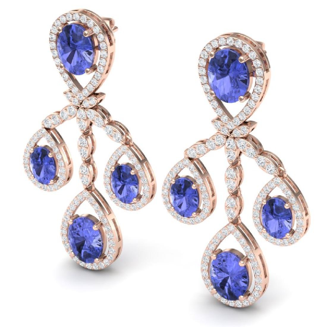 24.89 CTW Royalty Tanzanite & VS Diamond Earrings 18K - 2