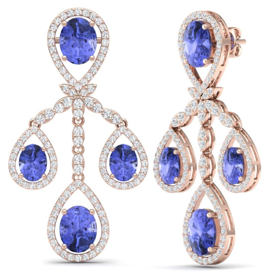 24.89 CTW Royalty Tanzanite & VS Diamond Earrings 18K - 3