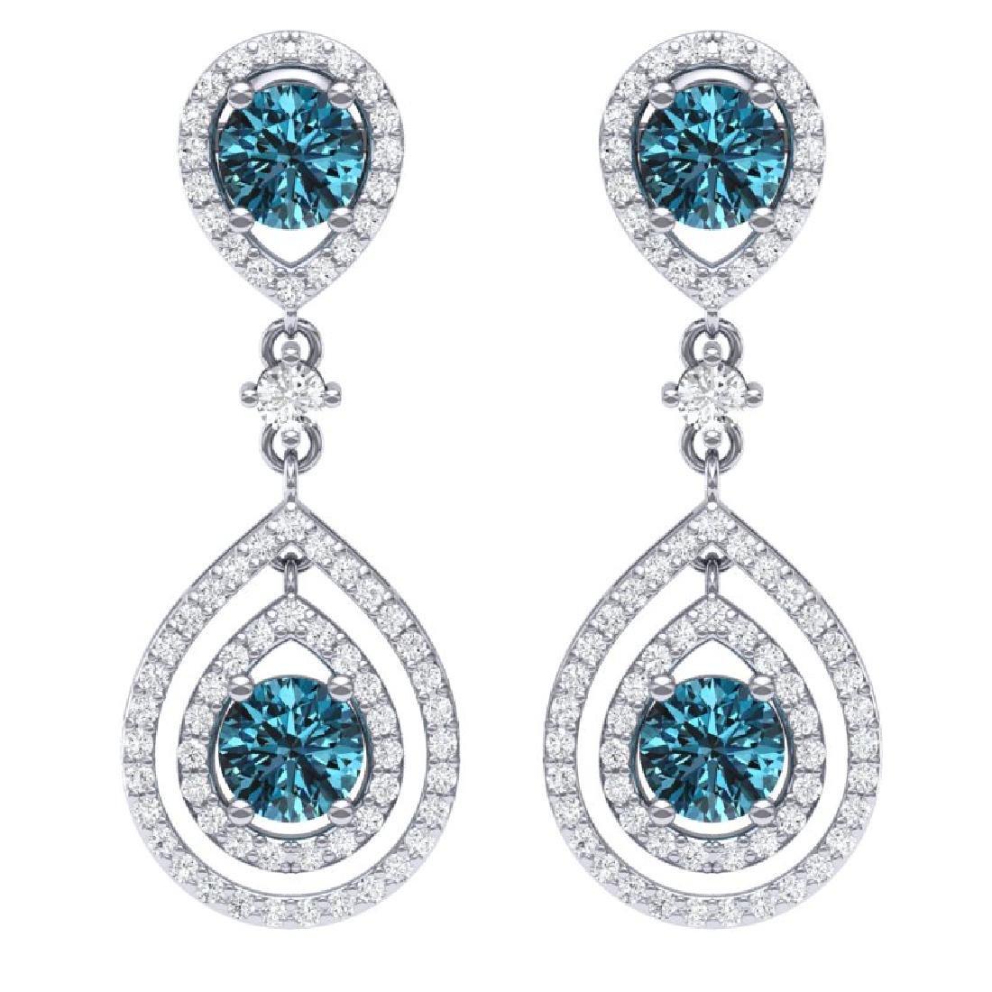 3.94 CTW Royalty Fancy Blue, SI Diamond Earrings 18K