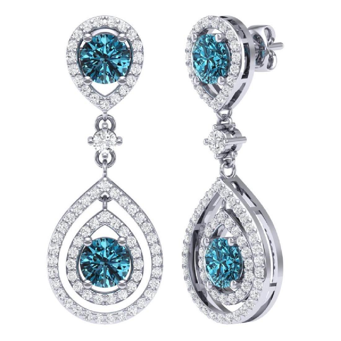 3.94 CTW Royalty Fancy Blue, SI Diamond Earrings 18K - 2