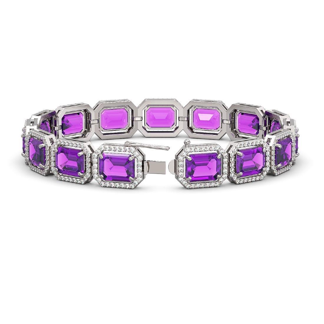 34.86 CTW Amethyst & Diamond Halo Bracelet 10K White