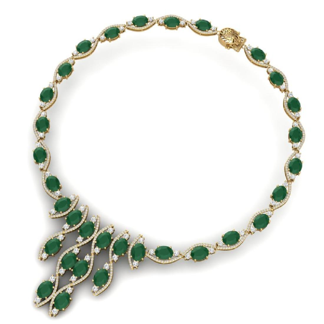 65.93 CTW Royalty Emerald & VS Diamond Necklace 18K - 2