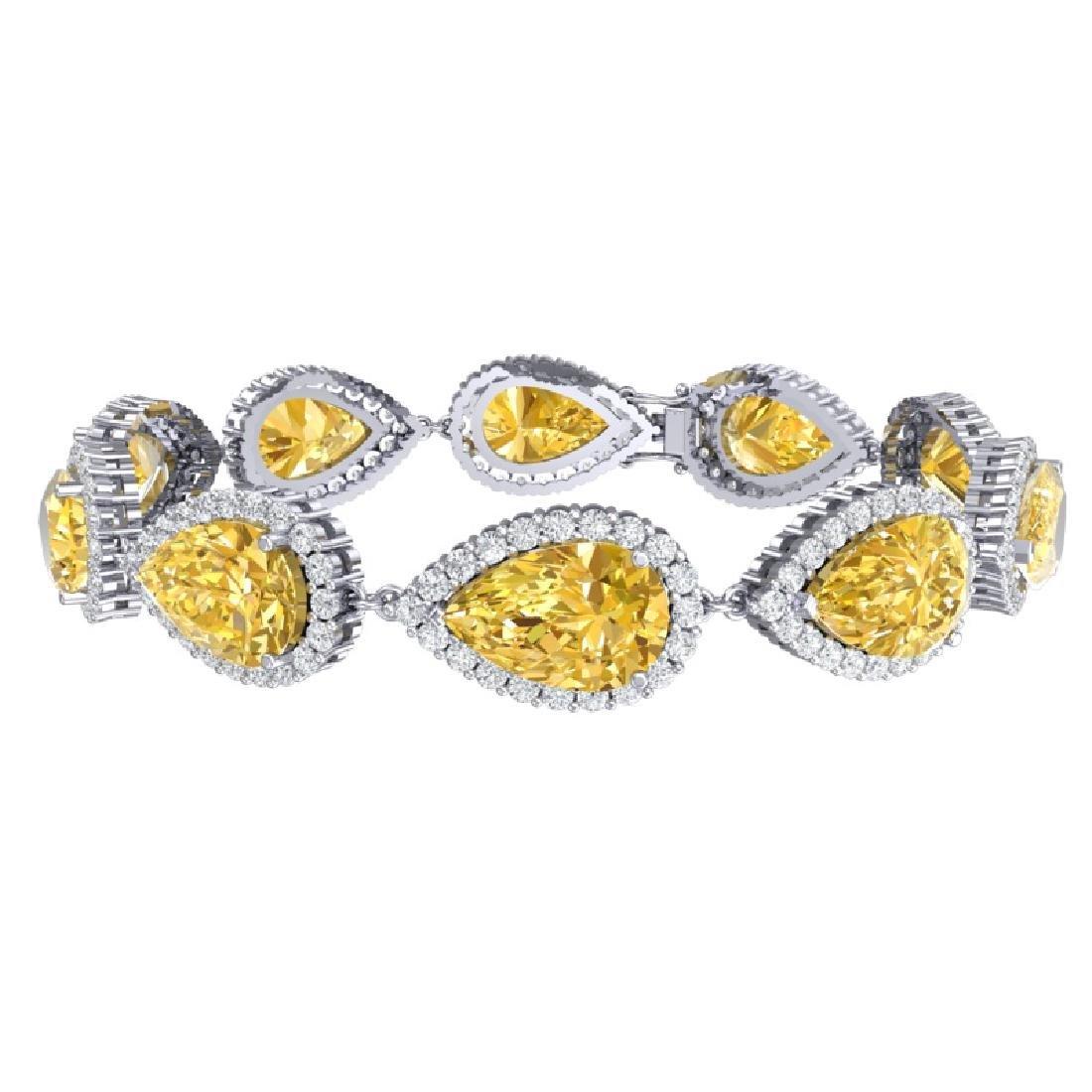 39.26 CTW Royalty Canary Citrine & VS Diamond Bracelet - 2
