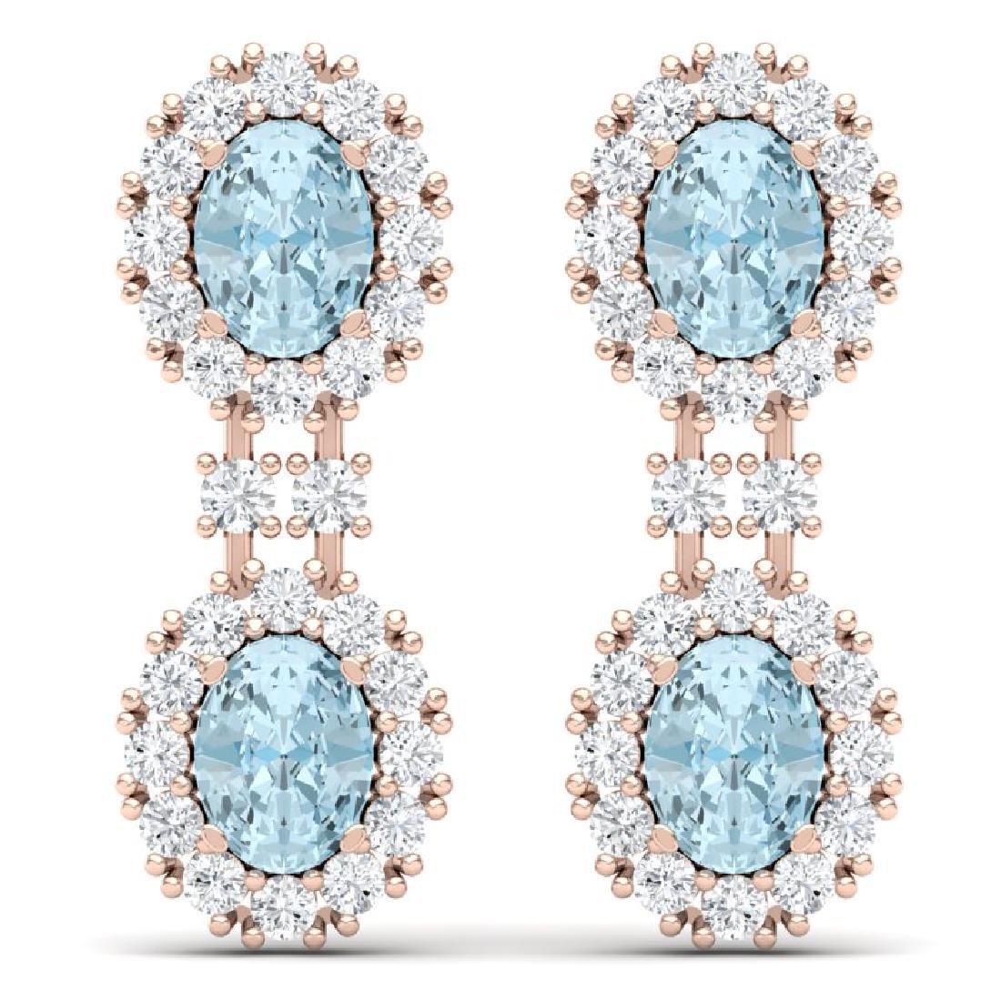 8.8 CTW Royalty Sky Topaz & VS Diamond Earrings 18K