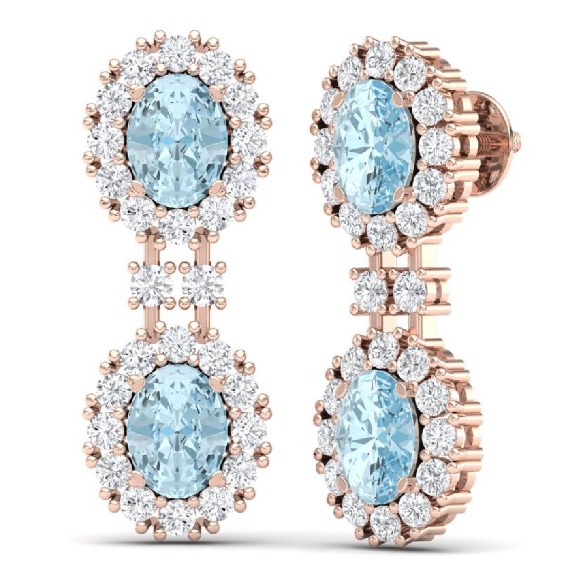 8.8 CTW Royalty Sky Topaz & VS Diamond Earrings 18K - 3