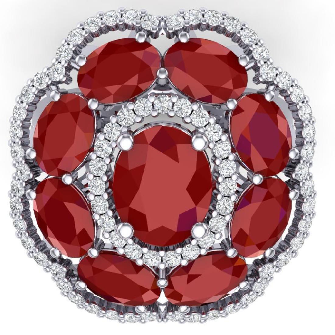 14.4 CTW Royalty Designer Ruby & VS Diamond Ring 18K - 2