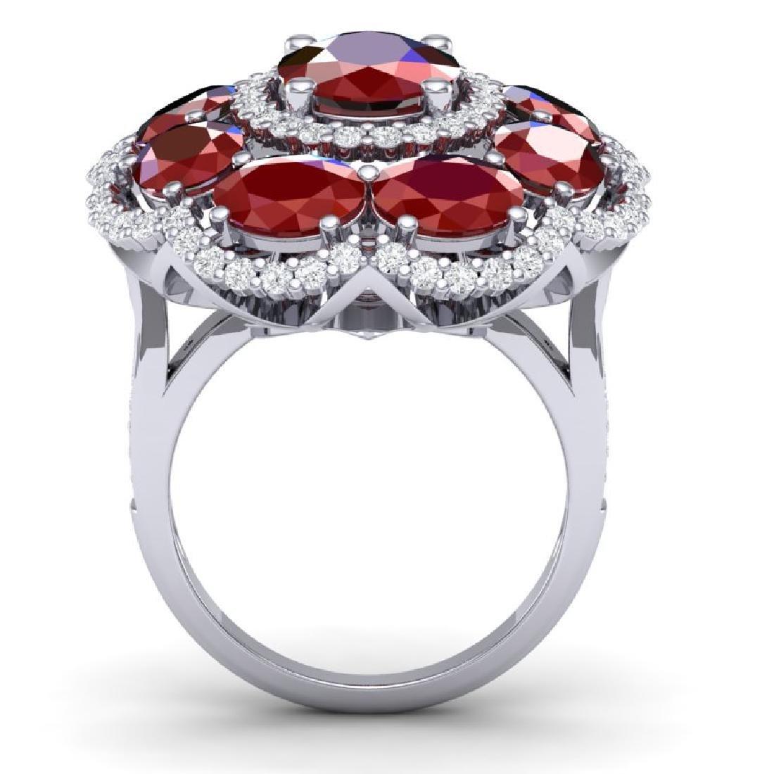 14.4 CTW Royalty Designer Ruby & VS Diamond Ring 18K - 3