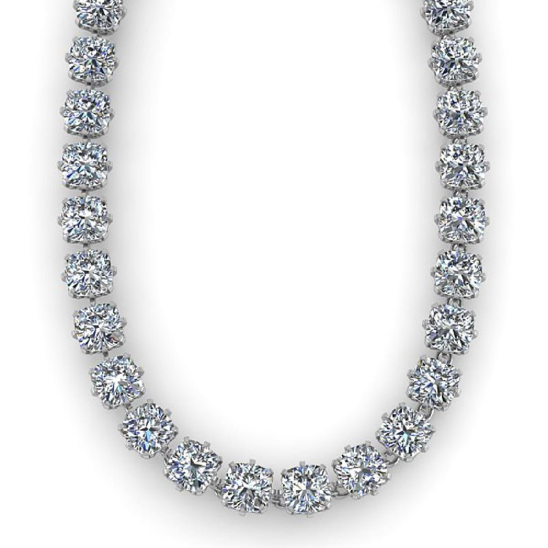 28 CTW Oval Cut SI Certified Diamond Necklace 18K White - 2