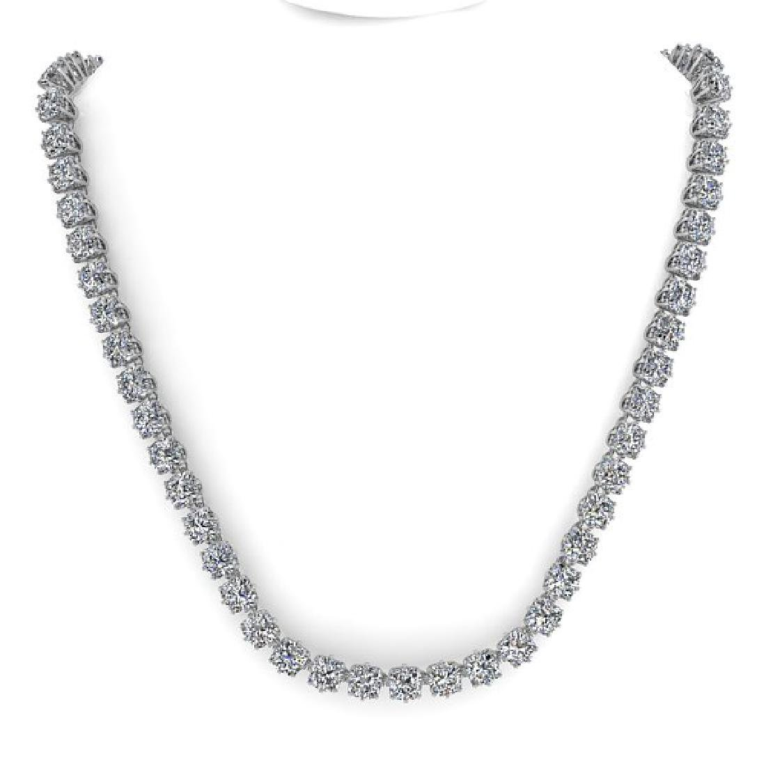 28 CTW Oval Cut SI Certified Diamond Necklace 18K White - 3