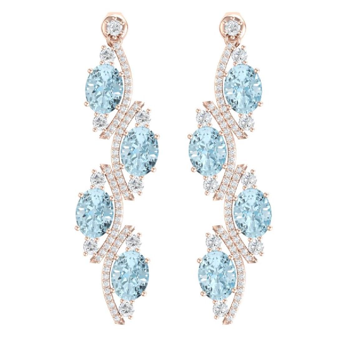 15.72 CTW Royalty Sky Topaz & VS Diamond Earrings 18K