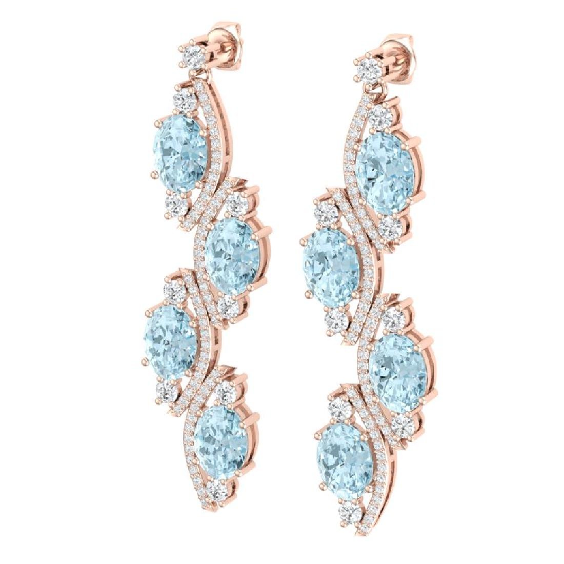 15.72 CTW Royalty Sky Topaz & VS Diamond Earrings 18K - 2