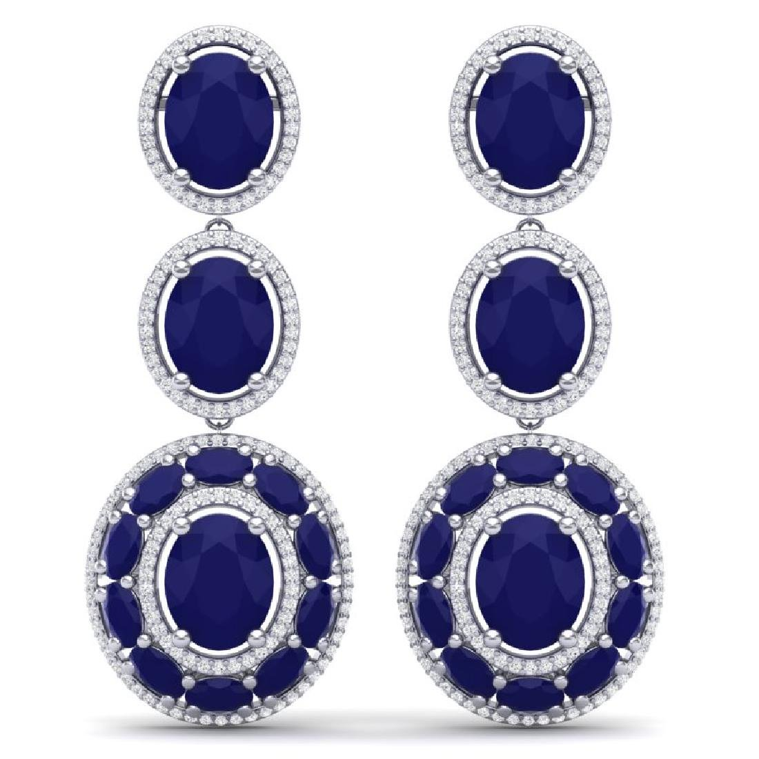 32.84 CTW Royalty Sapphire & VS Diamond Earrings 18K