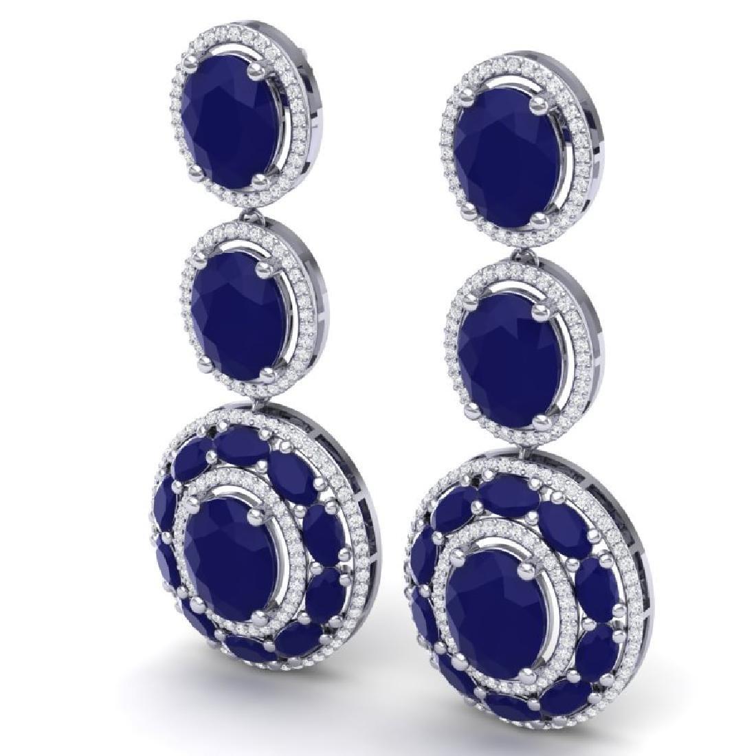 32.84 CTW Royalty Sapphire & VS Diamond Earrings 18K - 2