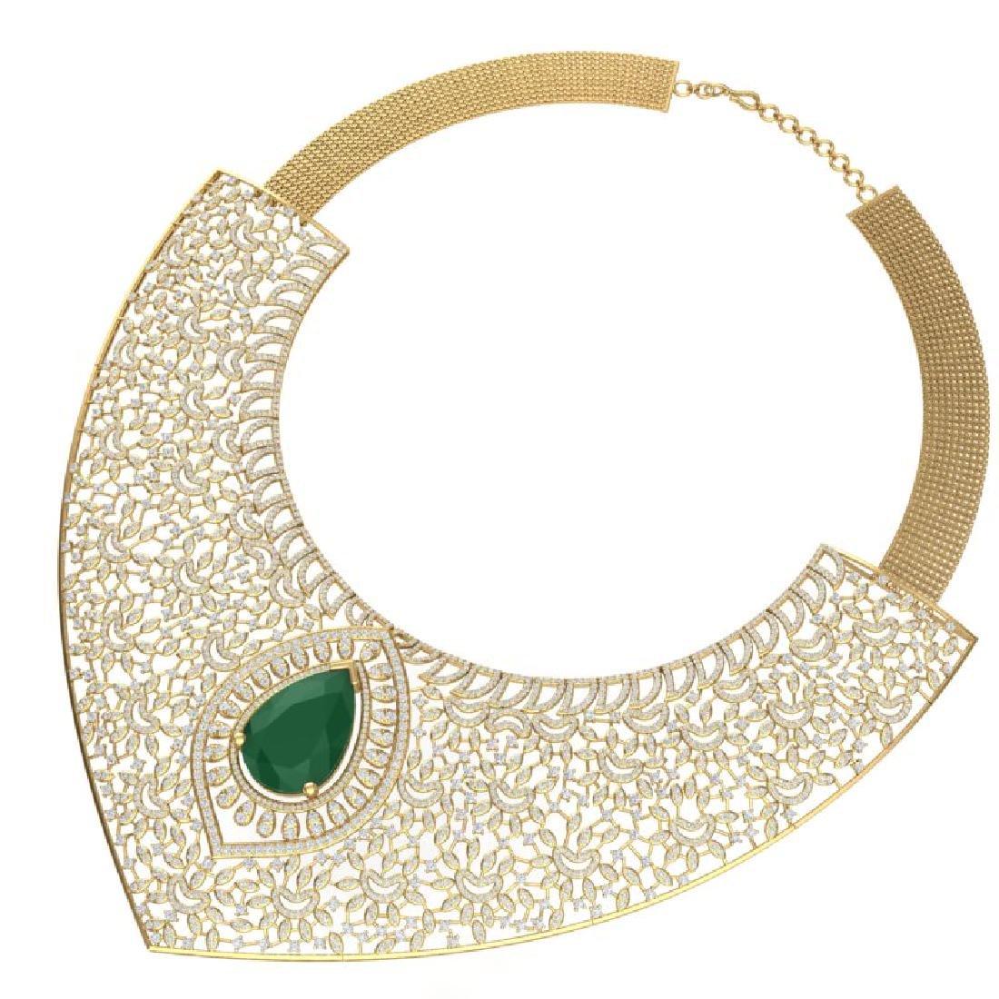 63.93 CTW Royalty Emerald & VS Diamond Necklace 18K - 3