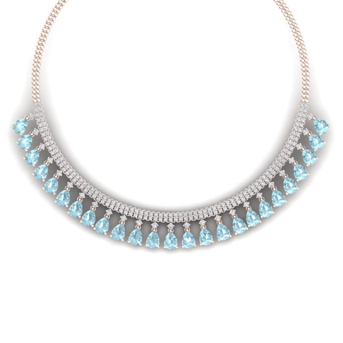 43.05 CTW Royalty Sky Topaz & VS Diamond Necklace 18K