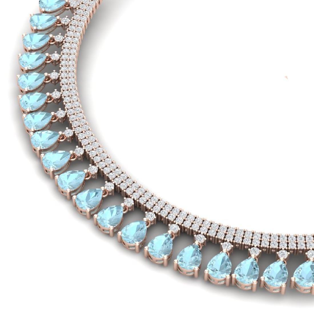 43.05 CTW Royalty Sky Topaz & VS Diamond Necklace 18K - 2