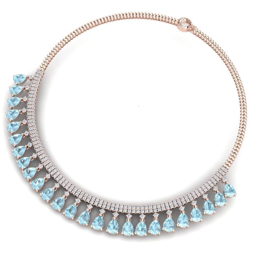 43.05 CTW Royalty Sky Topaz & VS Diamond Necklace 18K - 3