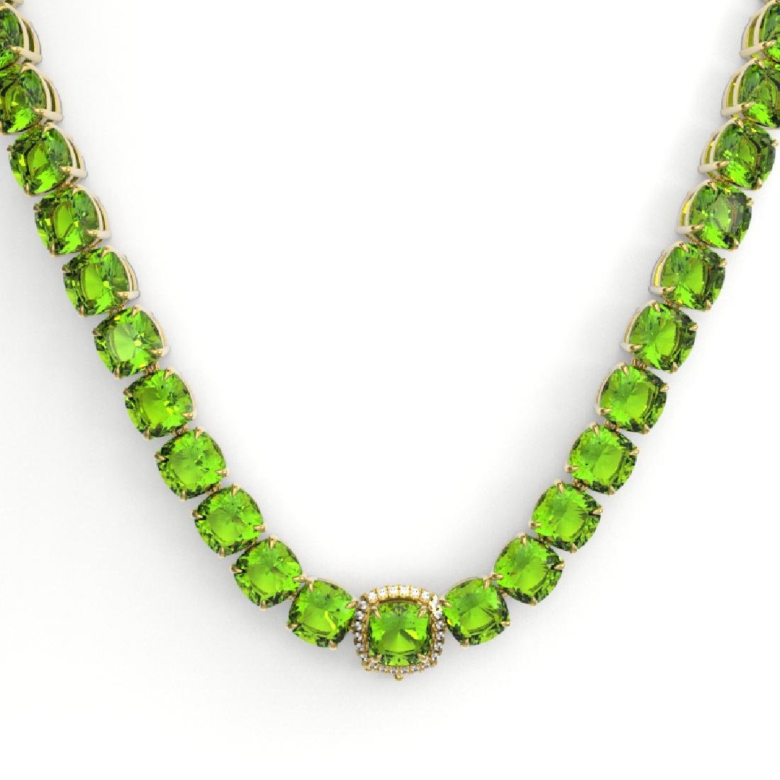 100 CTW Peridot & VS/SI Diamond Solitaire Necklace 14K - 2